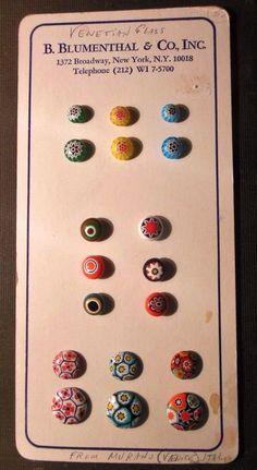 ButtonArtMuseum.com - Vintage Salesman's Sample Murano Italy Glass Buttons-B. Blumenthal & CO., Inc   eBay