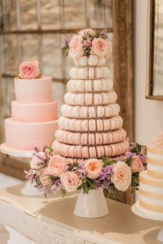 Elegant pink macaron wedding cake; Featured Photographer: Naomi Kenton via Rock My Wedding, Via Baking Chick