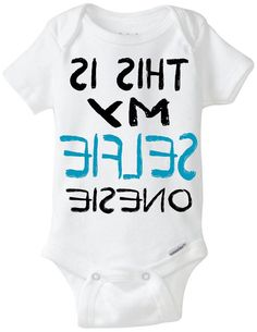 """Funny onesie baby boy gift idea: """"This is my SELFIE onesie"""" new baby / new parent / baby shower gift / Black & Blue / Preemie Available"""