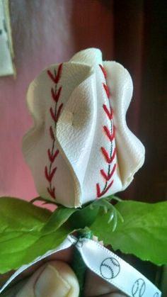 Baseball boutonniere - could easily be made into Mother's Day flower stuff
