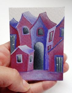 ACEO original small piece of art acrylic on paper by kasumovicART, $15.00