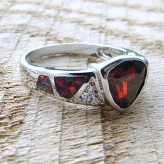 Genuine Red Fire Opal and Red Garnet 925 Sterling ring