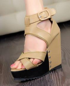 Cheap 2012 fashion wedge heel cross belt zipper hallow out peep toe color matching sandals Discount Wholesale
