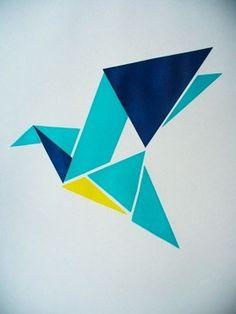 Origami inspired Bluebird Screenprint A3 par FunMakesGood sur Etsy