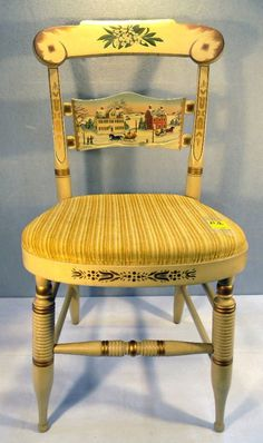 Painted Hitchcock side chair picturing the Butler ♥ McC : Lot 2B
