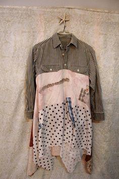 Shabby Chic Shirt Dress, Romantic Bohemian Style, Mori Girl, Lagenlook