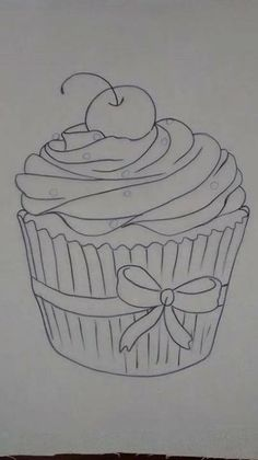 Cupcakes, sorvetes e bolos (Cupcakes, ice creams and cakes) Tole Painting, Fabric Painting, Coloring Book Pages, Coloring Sheets, Applique Patterns, Embroidery Applique, Laura Rodrigues, Cupcake Drawing, Cake Templates