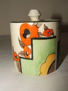 Clarice Cliff Art Deco Bizarre Geometric Blocks Flowers Newport V RARE Jampot | eBay