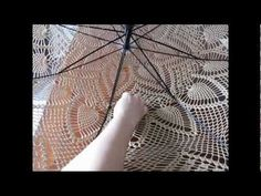 Crocheted Lace Parasols - Video tutorial on how to actually put it together once you've crocheted (or knit) the round shawl/doily.