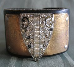 Recycled Leather Cuff bracelet with etched brass and a vintage shoe clip- my goodness, this is beautifully tough! Love it!