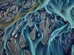 Aerial photographs of watery landscapes by Ed Burtynsky | Thjorsa River, Iceland 2012