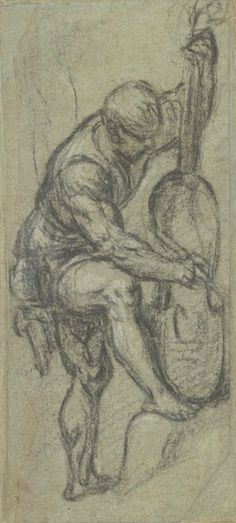 Paris Bordone (1500-1571) Standing Man Playing a Viola da Gamba, late 1530s, Black chalk, heightened with white chalk, on blue paper, The Mo...