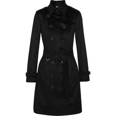 Burberry The Sandringham cashmere trench coat ($2,885) ❤ liked on Polyvore featuring outerwear, coats, burberry, black, cashmere trench coat, cashmere coats, buckle coats and double breasted coat
