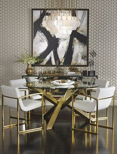long glass and gold dining table - Google Search