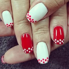 Red and white nails with dots