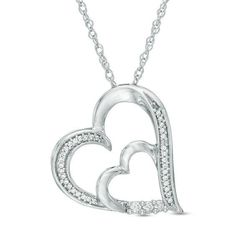 Zales 1/8 CT. T.w. Diamond Double Heart Pendant in Sterling Silver and 10K Rose Gold gtPDK