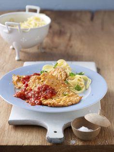 Piccata milanese - Schnitzel mit Nudeln und Parmesan