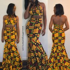 """Jessica Chibueze's Kente Gown by Ohemaa Closet for The Ghana Independence Ball 2015 (@jessnnecee) (@ohemaacloset) (@not_lookn_back)…"""