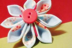 Kanzashi Flower Hair Clip Blue Floral Fabric with by harmony5, $11.00