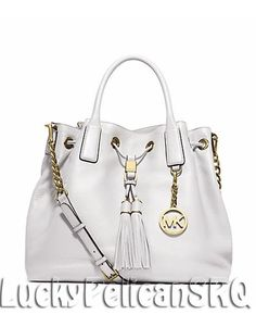 MICHAEL KORS Camden Large Leather Satchel Tote Bag OPTIC WHITE NWT #MichaelKors #TotesShoppers