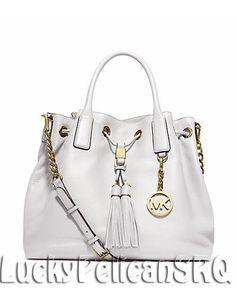 MICHAEL KORS Camden Large Leather Satchel Tote Bag OPTIC WHITE NWT #MichaelKors #TotesShoppers
