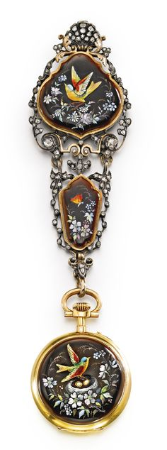 CHARLES OUDIN AN 18K YELLOW GOLD AND ENAMEL OPEN-FACED WATCH WITH CHATELAINE CIRCA 1890 •