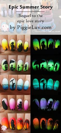 The complete Epic Summer Story! Made with only Serum No. 5 polishes and the silhouettes were hand painted with acrylic paint. Tell me which one's your favorite!