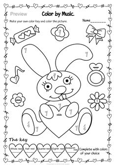 Valentine`s Day: Color by Music Bundle Music Worksheets, Free Printable Worksheets, Free Printables, Bunny Coloring Pages, Preschool Coloring Pages, Color Wheel Worksheet, Piano Lessons For Beginners, Spanish Colors, Singular And Plural