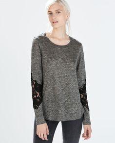 LACE SLEEVE LINEN T-SHIRT from Zara