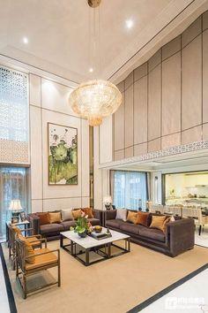 中式复式楼客厅吊顶装修效果图欣赏