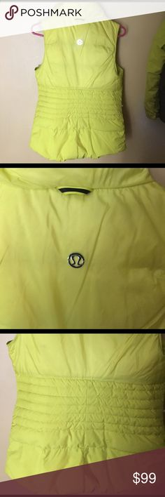 Lululemon yellow fluffin down split pea vest  8 Lululemon yellow goose down vest.. fluffin awesome or what the fluff.. I forget the name. Inside pockets, outside pockets, Lululemon pull tie that you can remove for a hair tie. Longer in back to cover your backside a little more. Zipper front. Sz 8 . Cool and rare yellow...split pea lululemon athletica Jackets & Coats Vests