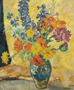 Louis Valtat (French, 1869-1952), Bouquet de pavots, zinnias et gueules de loup [Bouquet of poppies, zinnias and snapdragons], c.1939. Oil on canvas, 60.9 x 50 cm.