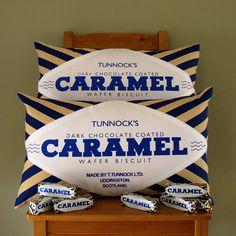 Tunnock's Dark Chocolate Caramel Wafer Printed Cushion, by Nikki McWilliams