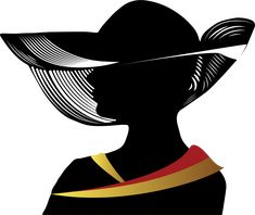 Woman Silhouette with Hat | Woman With Fancy Hat Silhouette by GDJ
