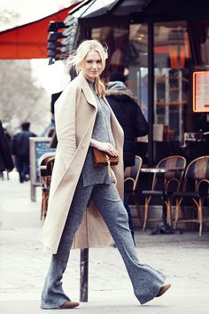 Look: Knitted Pants and Camel Coat