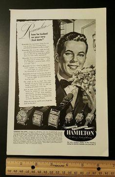 Old 1949 Hamilton watch wristwatch mens womens vintage print ad slot 10