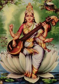 Saraswati Goddess, Goddess Art, Saraswati Mata, Ganesha Painting, Tanjore Painting, Shiva Art, Hindu Art, Orisha, Durga Picture