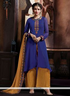 Fashion and trend will be at the peak of your beauty once you attire this blue georgette designer pakistani suit. The enticing embroidered and patch border work a substantial element of this dress. Co...