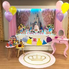 Princess Theme Birthday, Princess Birthday Party Decorations, 1st Birthday Themes, Disney Princess Party, Baby Shower Princess, Birthday Parties, Birthday Cake, Princesa Real, Flora