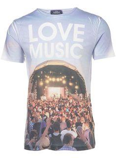 Blue Music Stage Sublimation Print T-Shirt
