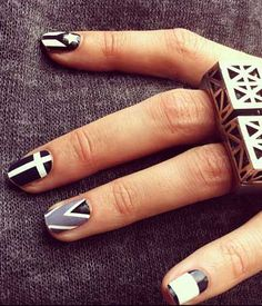 Creative nail polish art, in black, white and grays!