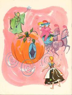 Cute vintage Cinderella illustration