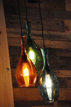 Hanging Recycled Bottle Glass Chandelier