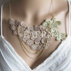 Light green , khaki  lace jewelry,  lace necklace,  bridal lace,  bridal necklace,  wedding necklace,  bridesmaid necklace,  jewelry gift. $38.00, via Etsy.