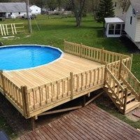 Discover 30 above ground pool deck ideas for your inspiration. Pictures of above ground pools with decks around them. Above ground swimming pool decks plans. Swimming Pool Decks, Swimming Pool Landscaping, Above Ground Swimming Pools, My Pool, Swimming Pool Designs, In Ground Pools, Landscaping Ideas, Backyard Ideas, Landscaping Software
