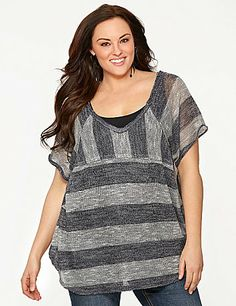 Style-savvy, mixed-stripe top by Seven7 spoils you with an soft hacci knit. Sheer for layering over your favorite tank or cami, this easy-wearing open knit top flatters with a deep V-neck and back, plus a rounded hem and diagonal stitching. Short sleeves. lanebryant.com