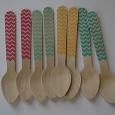 chevron wooden spoons. Great for an ice cream social!