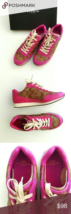 Coach Sneaker Shoe Coach Rebecca Sneaker Khaki Dahlia features:  Pretty Pink Rose Color  Cream shoelaces  Coach Logo Print  Upper Leather  Upper Suede  Upper Coated Canvas Non slip rubber sole  Comes with original box Coach Shoes
