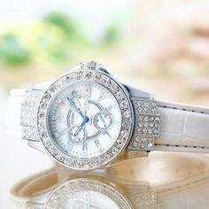 stylish Feida Crystal Ladies White Leather Watch