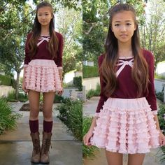 Forever 21 Burgundy Cropped Sweater With Pink Bow, Chicwish Peach My Heart Petticoat Skirt, Forever 21 Burgundy Knee High Socks, Soda Rust Brown Combat Boots